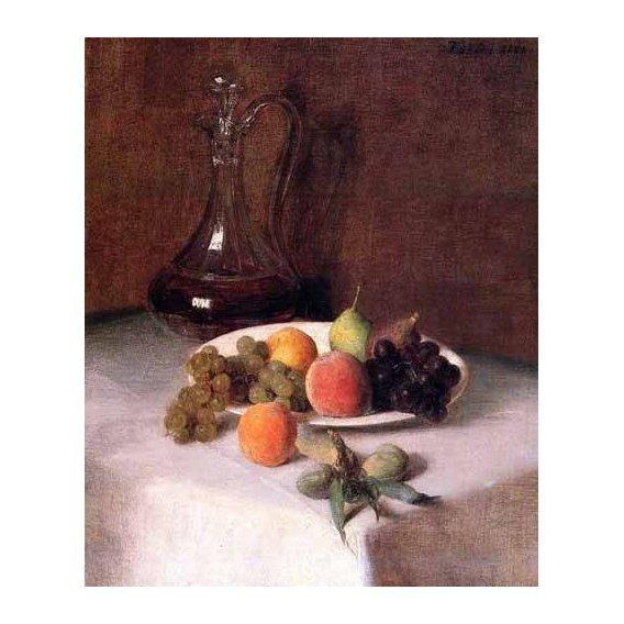 cuadros decorativos - Cuadro -Jarra de vino y plato de frutas sobre mantel blanco-