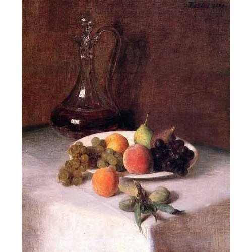 Quadro -Jarra de vino y plato de frutas sobre mantel blanco-