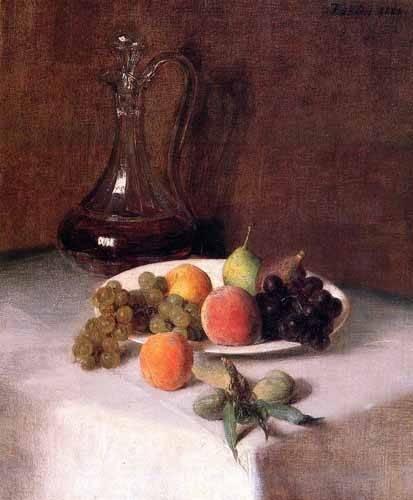 cuadros-decorativos - Quadro -Jarra de vino y plato de frutas sobre mantel blanco- - Fantin Latour, Henri