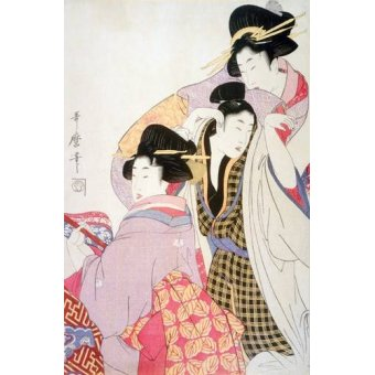 quadros étnicos e orientais - Quadro -Two Geishas and a Tipsy Client- - Utamaro, Kitagawa