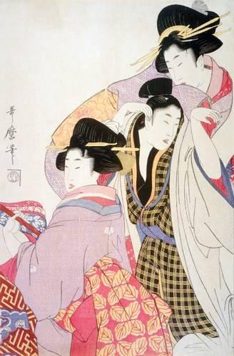 quadros-etnicos-e-orientais - Quadro -Two Geishas and a Tipsy Client- - Utamaro, Kitagawa