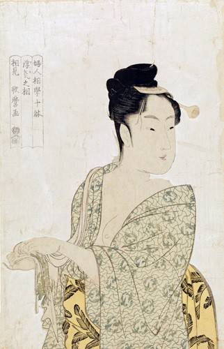 quadros-etnicos-e-orientais - Quadro -Ten physiognomic types of women, Coquettish type- - Utamaro, Kitagawa