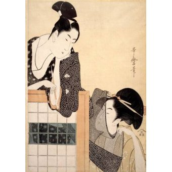 quadros étnicos e orientais - Quadro -Couple with a Standing Screen- - Utamaro, Kitagawa