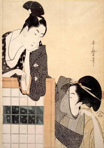 quadros-etnicos-e-orientais - Quadro -Couple with a Standing Screen- - Utamaro, Kitagawa