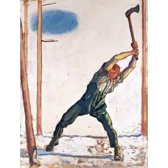 pinturas de retratos - Quadro -Woodcutter, 1910- - Hodler, Ferdinand