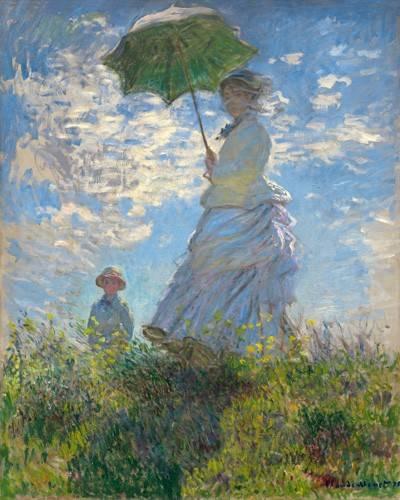 pinturas-de-retratos - Quadro -Woman with a Parasol - Madame Monet and Her Son, 1875- - Monet, Claude