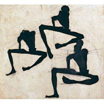 - Quadro -Abstrato _ Composição com três figuras masculinas nuas, 1910- - Schiele, Egon