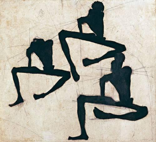 quadros-abstratos - Quadro -Abstrato _ Composição com três figuras masculinas nuas, 1910- - Schiele, Egon
