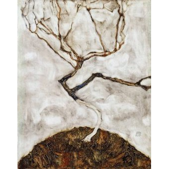 Quadros abstratos - Quadro -Small Tree in Late Autumn, 1911- - Schiele, Egon