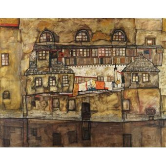 - Quadro -House Wall on the River, 1915- - Schiele, Egon