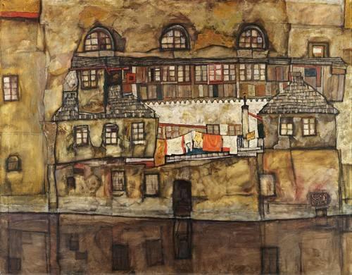 quadros-de-paisagens - Quadro -House Wall on the River, 1915- - Schiele, Egon