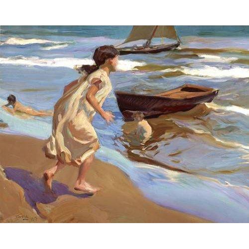 pinturas do retrato - Quadro -Niña entrando en el baño-