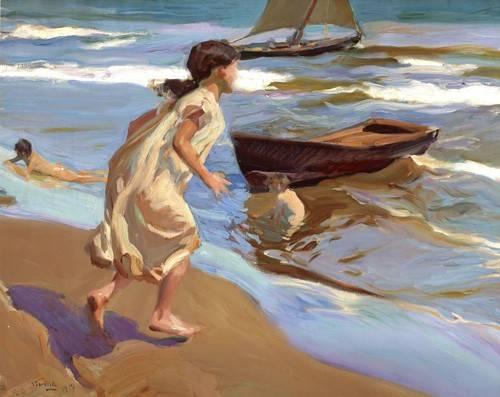 pinturas-de-retratos - Quadro -Niña entrando en el baño- - Sorolla, Joaquin