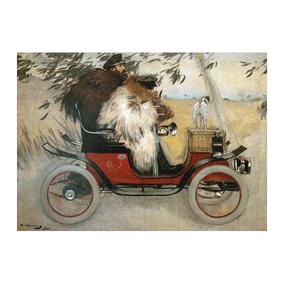 pinturas do retrato - Quadro -Ramon Casas y Pere Romeu en automovil, 1901-