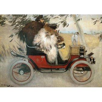 pinturas de retratos - Quadro -Ramon Casas y Pere Romeu en automovil, 1901- - Casas i Carbó, Ramón