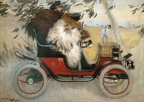 pinturas-de-retratos - Quadro -Ramon Casas y Pere Romeu en automovil, 1901- - Casas i Carbó, Ramón