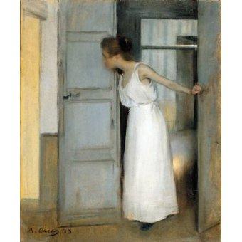 pinturas de retratos - Quadro -Over My Dead Body, 1893- - Casas i Carbó, Ramón