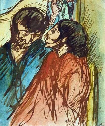 pinturas-de-retratos - Quadro -Gypsy Couple, 1904- - Nonell y Monturiol, Isidre