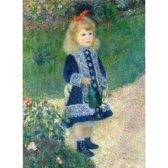 pinturas de retratos - Quadro -A Girl with a Watering Can, 1881- - Renoir, Pierre Auguste