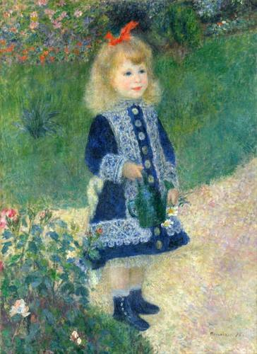 pinturas-de-retratos - Quadro -A Girl with a Watering Can, 1881- - Renoir, Pierre Auguste
