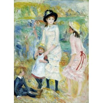 pinturas de retratos - Quadro -Children on the Seashore, Guernsey, 1883- - Renoir, Pierre Auguste