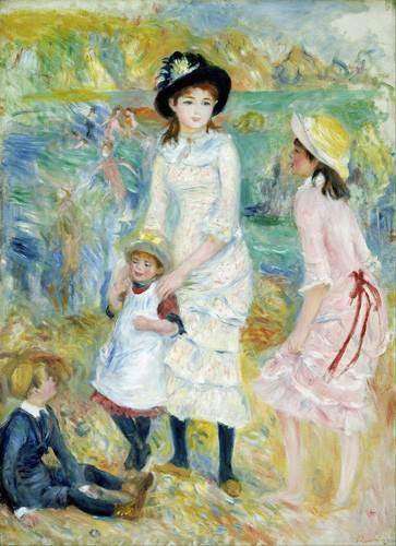 pinturas-de-retratos - Quadro -Children on the Seashore, Guernsey, 1883- - Renoir, Pierre Auguste