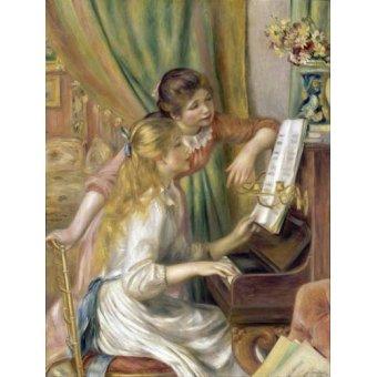 pinturas de retratos - Quadro -Young Girls at the Piano, 1892- - Renoir, Pierre Auguste