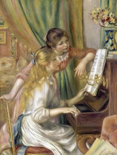 pinturas-de-retratos - Quadro -Young Girls at the Piano, 1892- - Renoir, Pierre Auguste