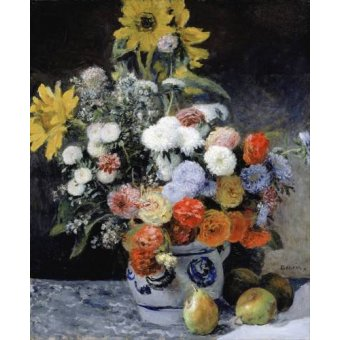 quadros de flores - Quadro -Mixed Flowers in an Earthenware Pot, 1869- - Renoir, Pierre Auguste