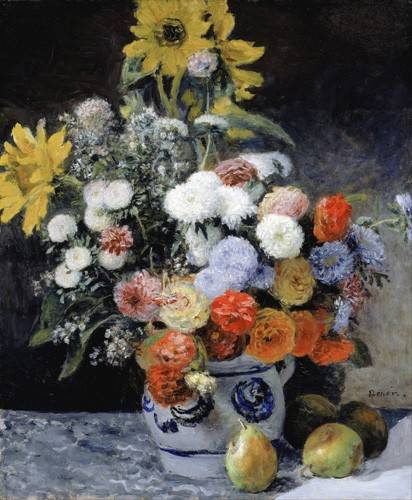 quadros-de-flores - Quadro -Mixed Flowers in an Earthenware Pot, 1869- - Renoir, Pierre Auguste