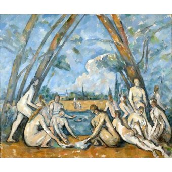 quadros nu artistico - Quadro -The Large Bathers, 1906- - Cezanne, Paul