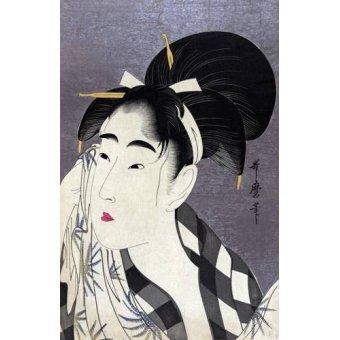 quadros étnicos e orientais - Quadro -Ase o fuku onna- - Utamaro, Kitagawa