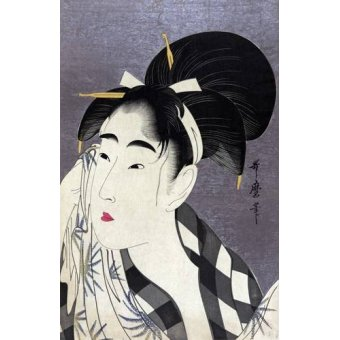 - Quadro -Ase o fuku onna- - Utamaro, Kitagawa