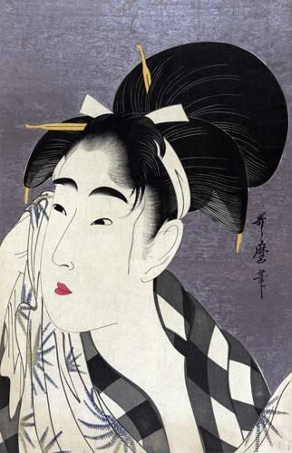 quadros-etnicos-e-orientais - Quadro -Ase o fuku onna- - Utamaro, Kitagawa