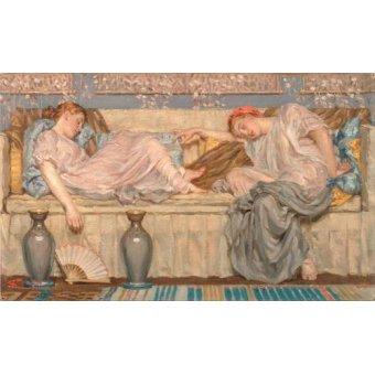 pinturas de retratos - Quadro -Beads_(study), 1875- - Moore, Albert Joseph