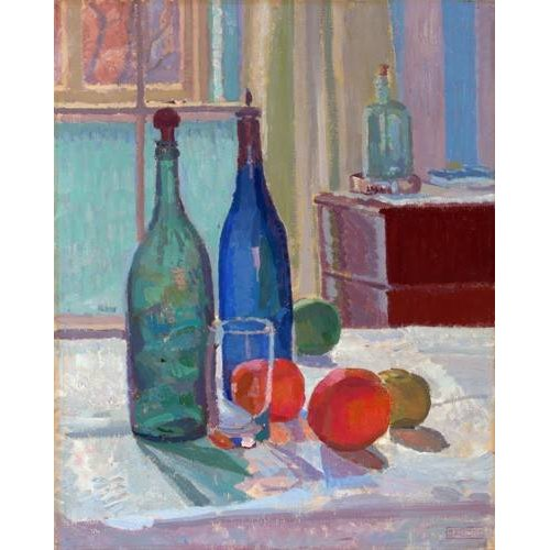 naturezas mortas - Quadro -Blue and Green Bottles and Oranges, 1914-