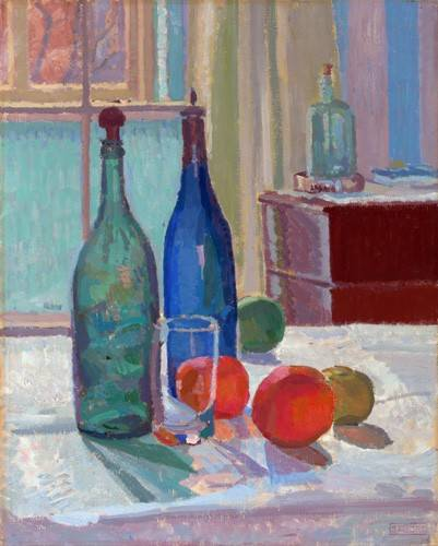 naturezas-mortas - Quadro -Blue and Green Bottles and Oranges, 1914- - Gore, Spencer