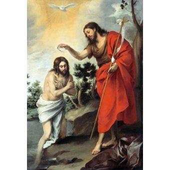 quadros religiosos - Quadro -Bautismo de Cristo, 1655- - Murillo, Bartolome Esteban