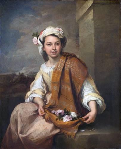 pinturas-de-retratos - Quadro -La Niña de las Flores, 1670- - Murillo, Bartolome Esteban