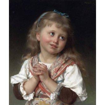 pinturas de retratos - Quadro -Niña pequeña- - Munier, Emile