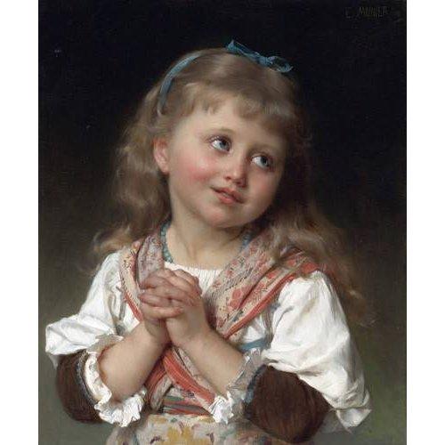 pinturas do retrato - Quadro -Niña pequeña-