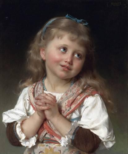pinturas-de-retratos - Quadro -Niña pequeña- - Munier, Emile