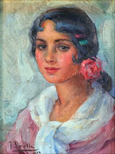 pinturas-de-retratos - Quadro -Retrato de una mujer- - Sorolla, Joaquin