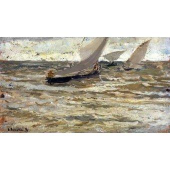 quadros de paisagens marinhas - Quadro -Salida de las barcas, Asturias- - Sorolla, Joaquin