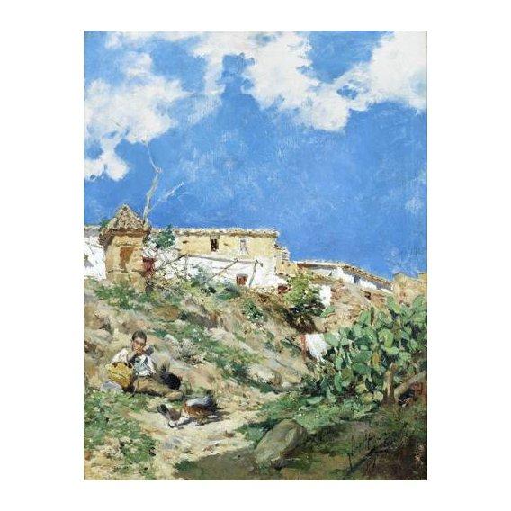 pinturas de paisagens - Quadro -Paisaje con figura en Sagunto (Valencia)-