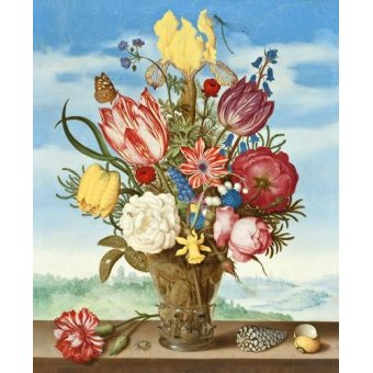quadros de flores - Quadro -Bouquet of Flowers on a Ledge- - Bosschaert, Ambrosius