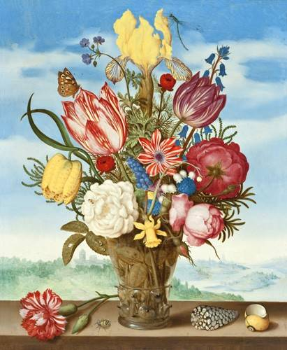 quadros-de-flores - Quadro -Bouquet of Flowers on a Ledge- - Bosschaert, Ambrosius