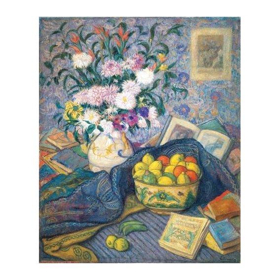 naturezas mortas - Quadro -Jarron de flores con plátanos, limones y libros, 1917-