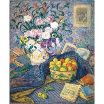 cuadros de bodegones - Cuadro -Jarron de flores con plátanos, limones y libros, 1917- - Echevarria, Juan de