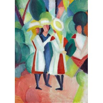 for children - Picture -Three girls in yellow straw hats, 1913- - Macke, August